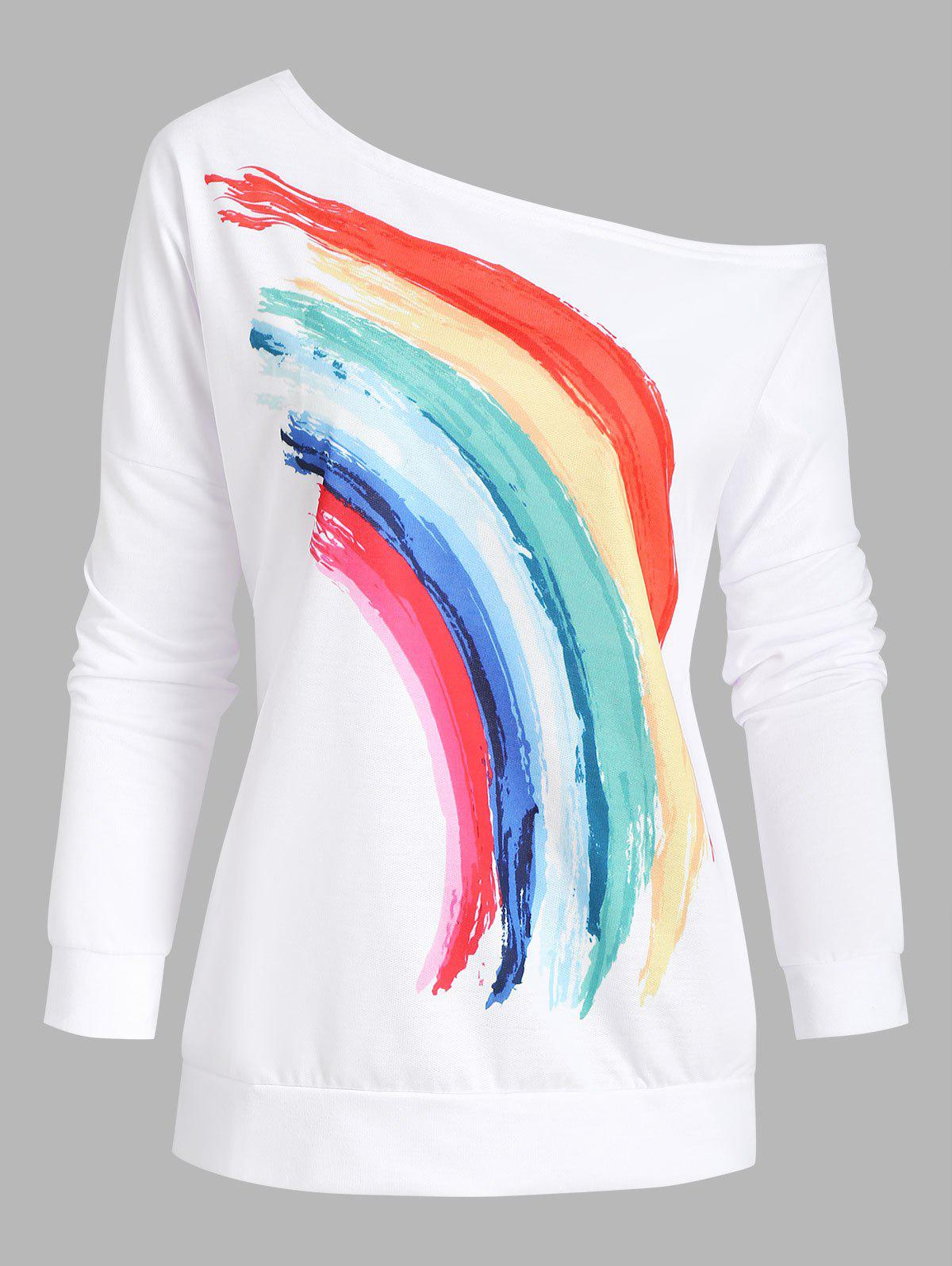 Sweat-shirt Arc-en-ciel Imprimé à Col Oblique - Blanc M
