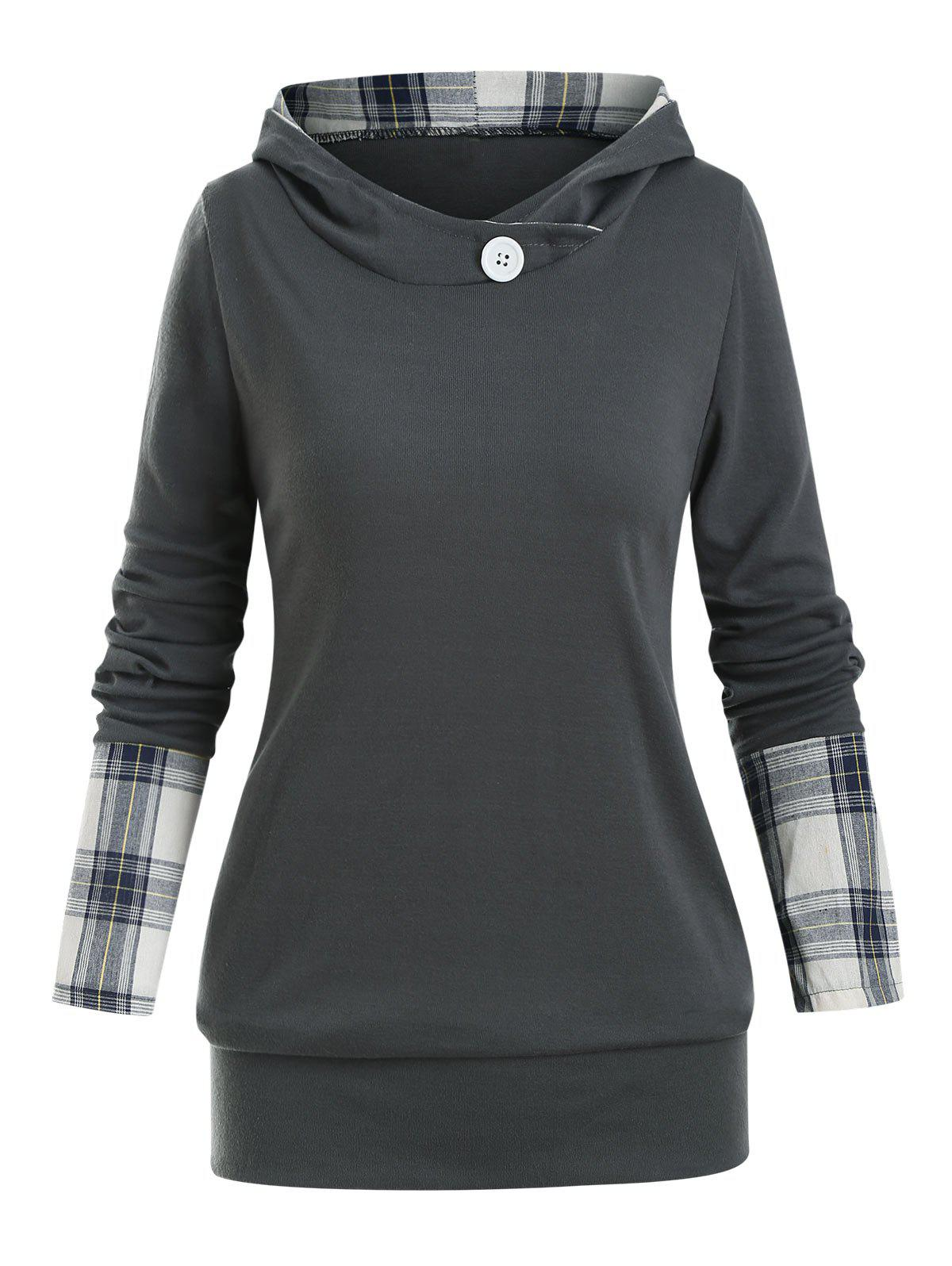 Hooded Plaid Panel Jersey Top - GRAY L