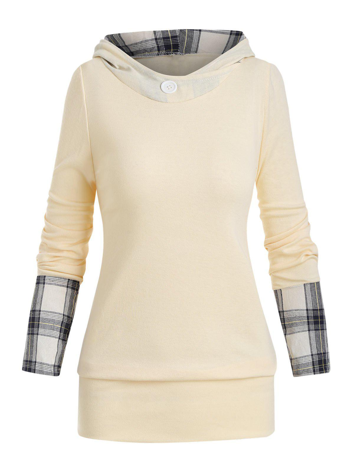Hooded Plaid Panel Jersey Top - LIGHT YELLOW L