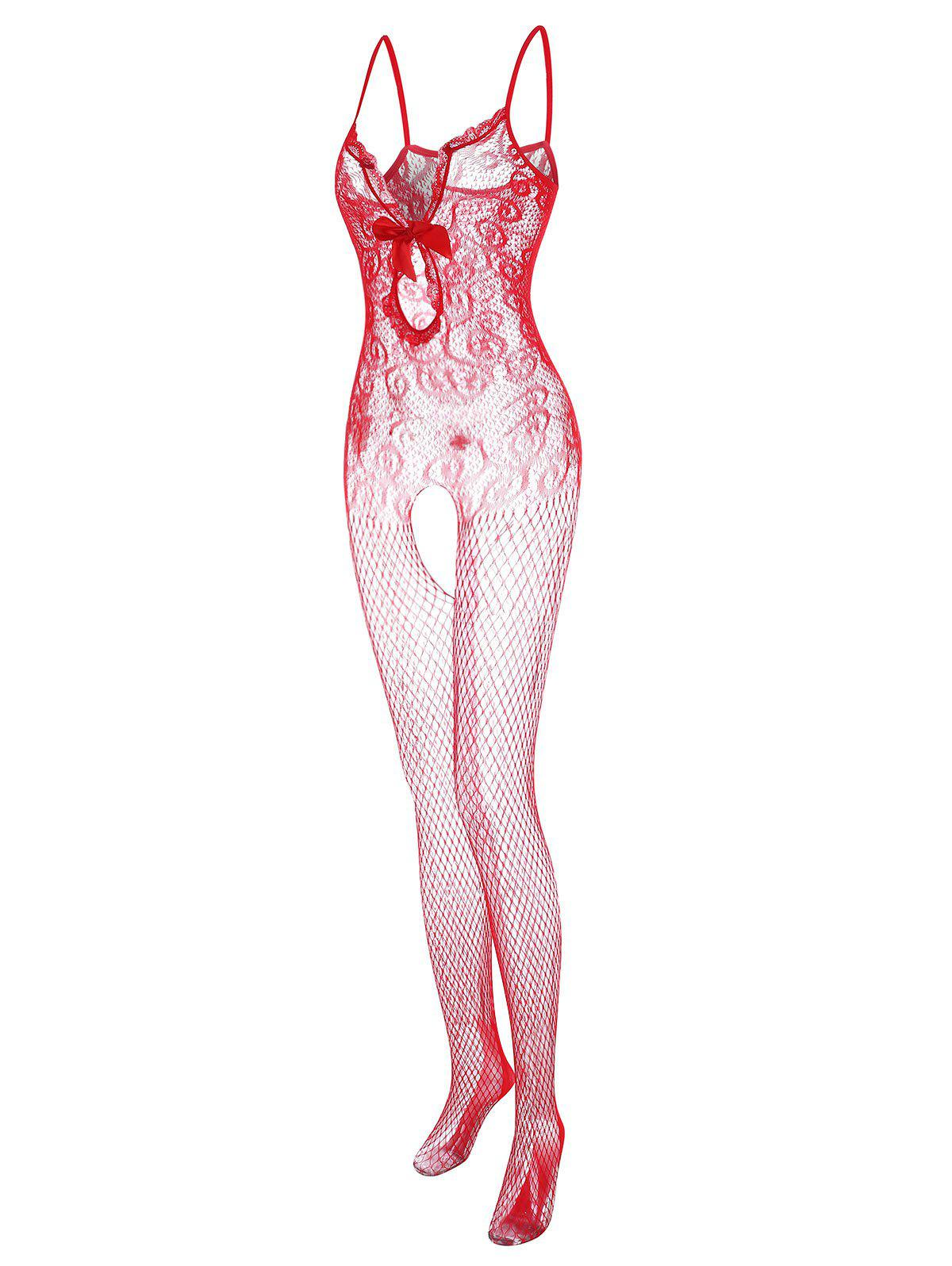 Plus Size Fishnet Bowknot Lace Insert Cami Bodystocking - RED ONE SIZE