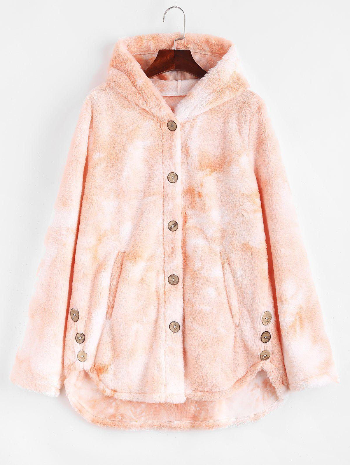 Plus Size Tie Dye Faux Fur Pocket Hooded Coat - ORANGE XL
