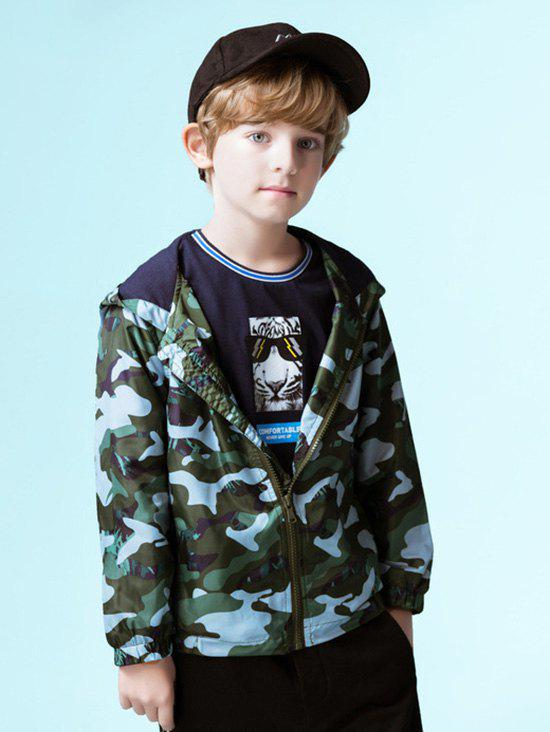 Camouflage Print Boy Hooded Jacket - GREEN 170