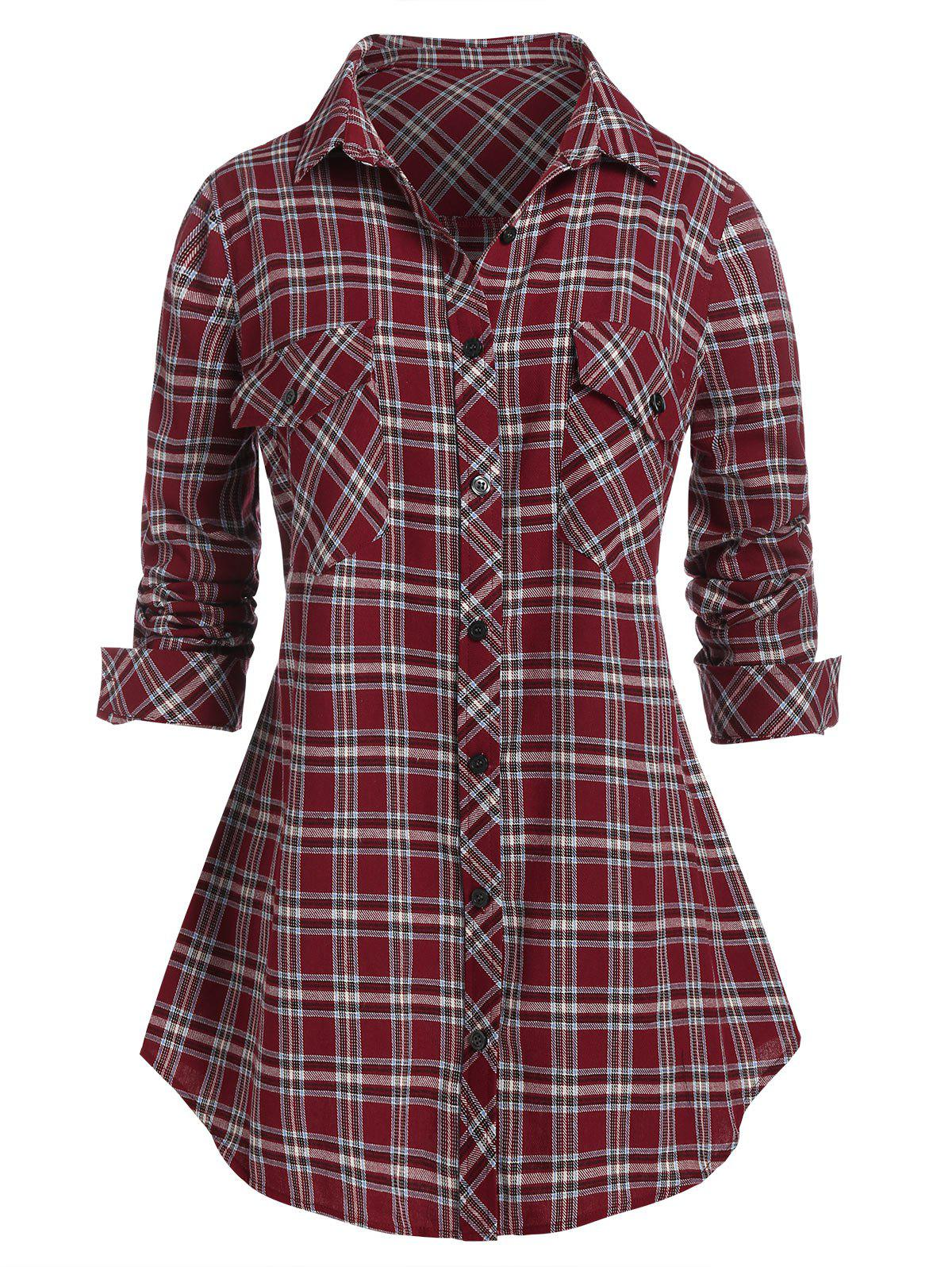 Plus Size Plaid Roll Up Sleeve Tunic Shirt - RED WINE 2X