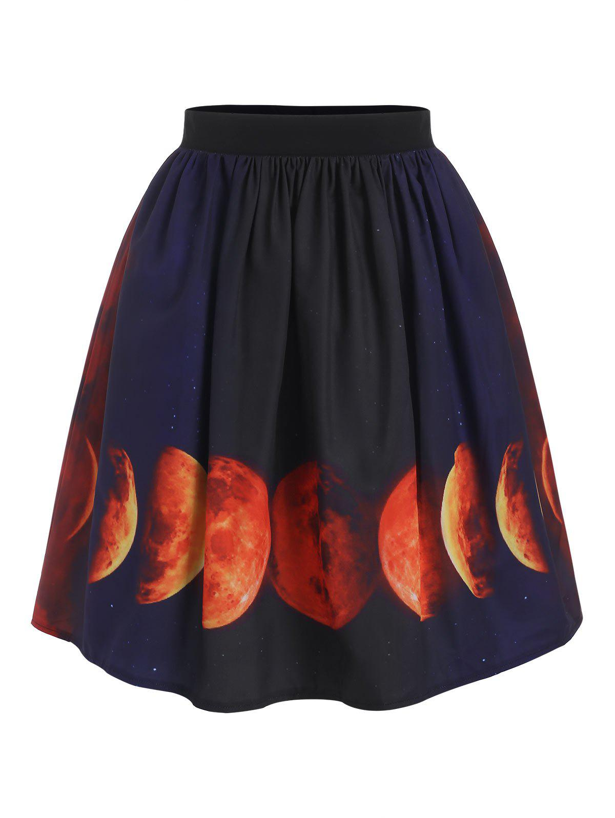 Halloween Lunar Eclipse Print A Line Skirt - BLACK S