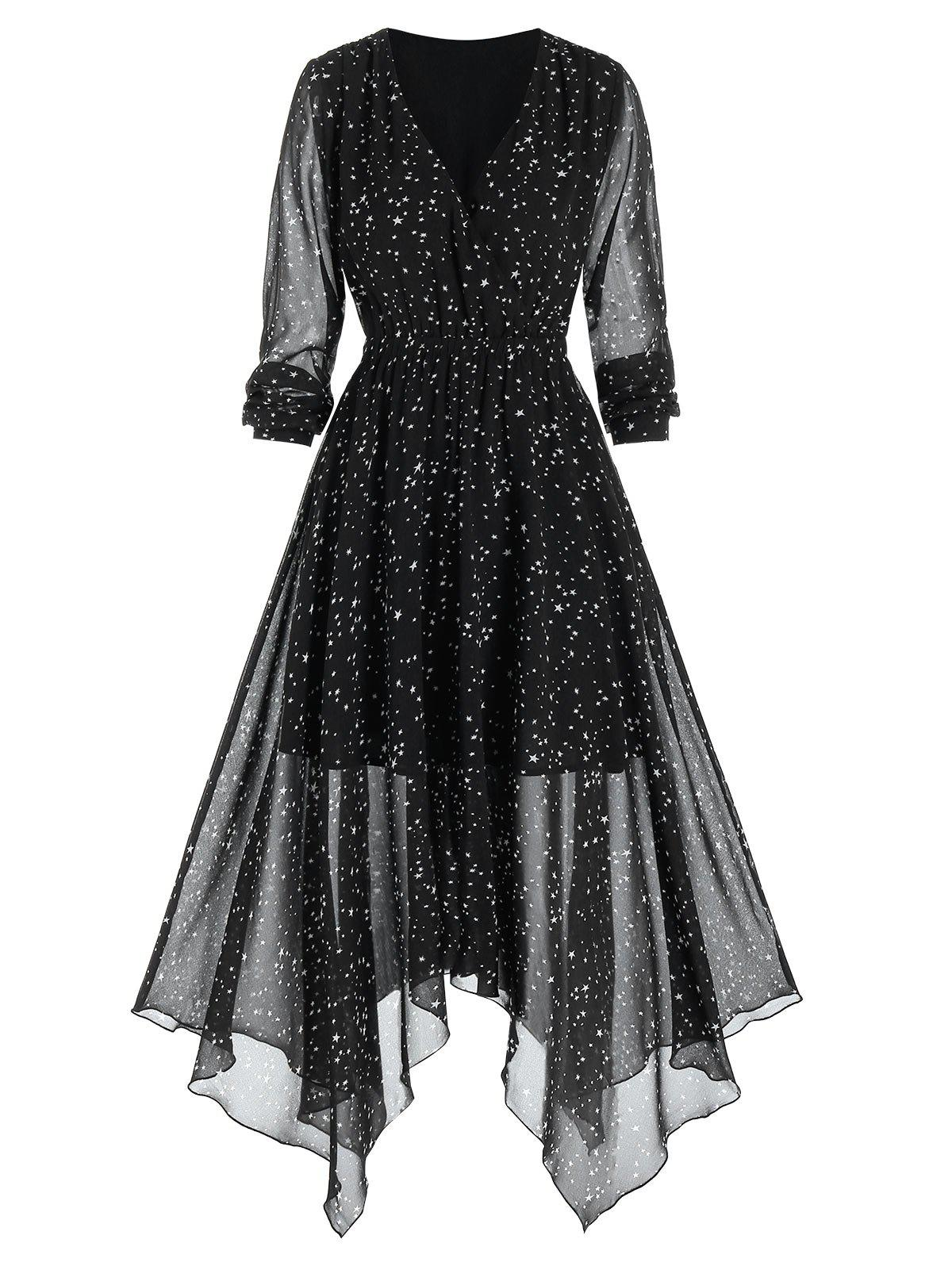 Stars Print Handkerchief Chiffon Dress - BLACK 2XL