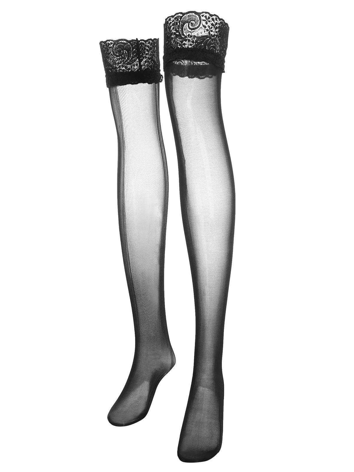 Plus Size Lace Insert Ruffle Thigh High Stockings - BLACK ONE SIZE