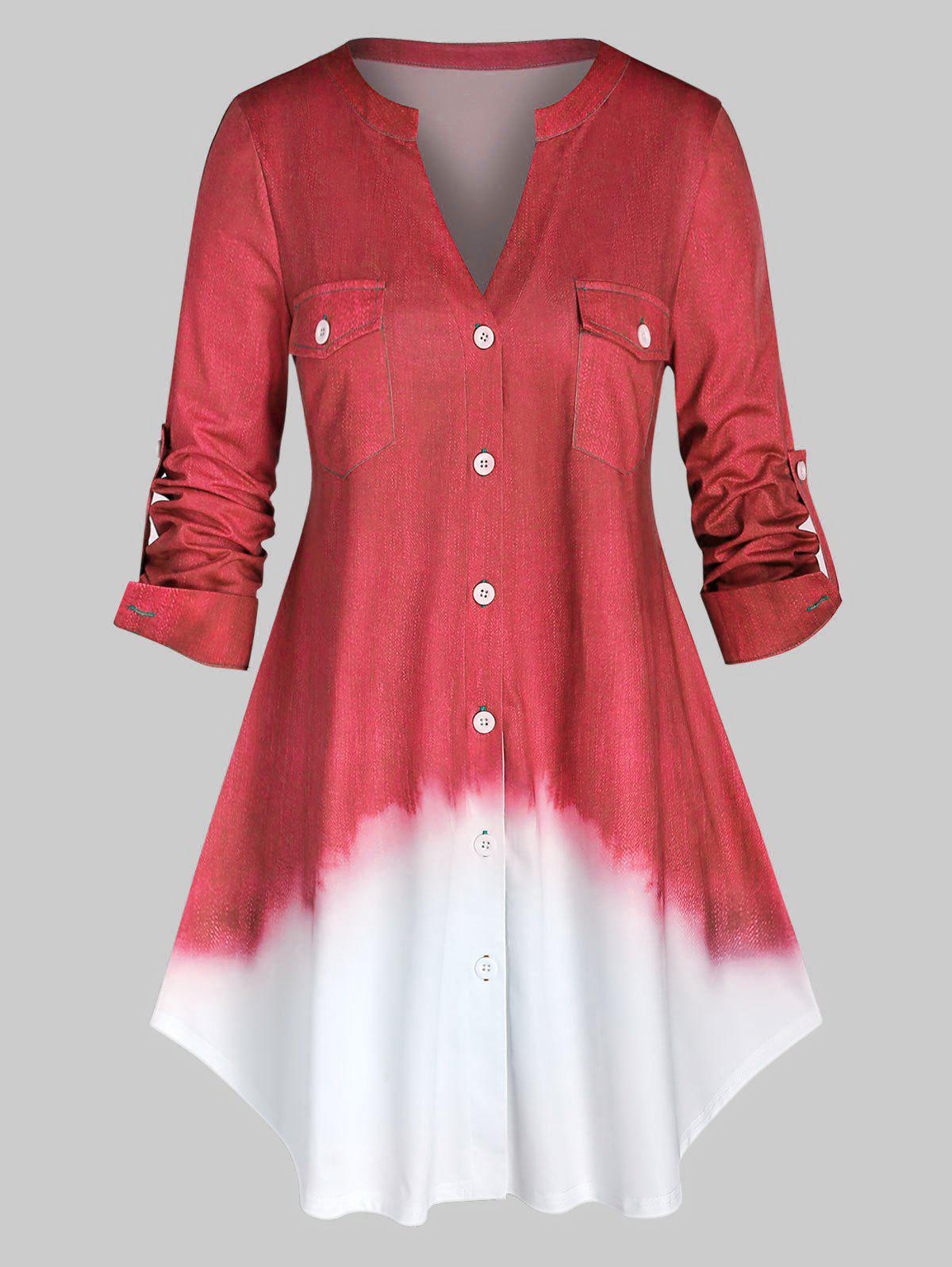 Plus Size Roll Up Sleeve Ombre Color Shirt - VALENTINE RED 5X
