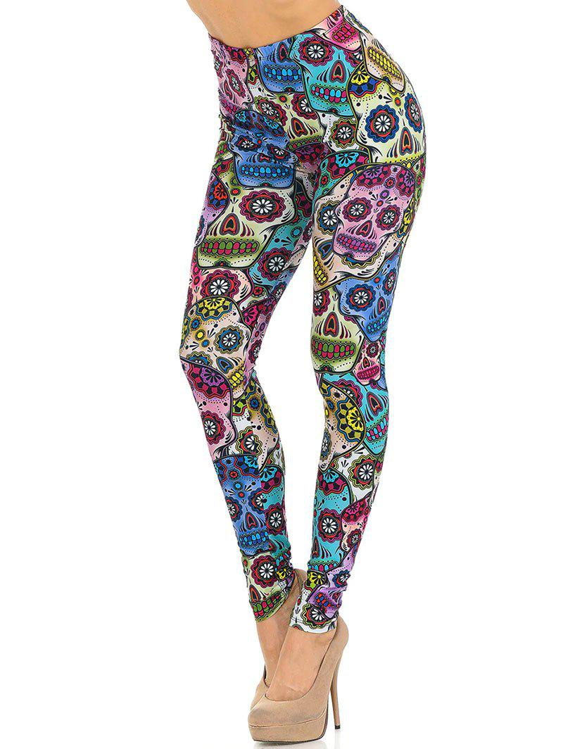 Halloween Skull Print High Waisted Hippie Leggings - multicolor S