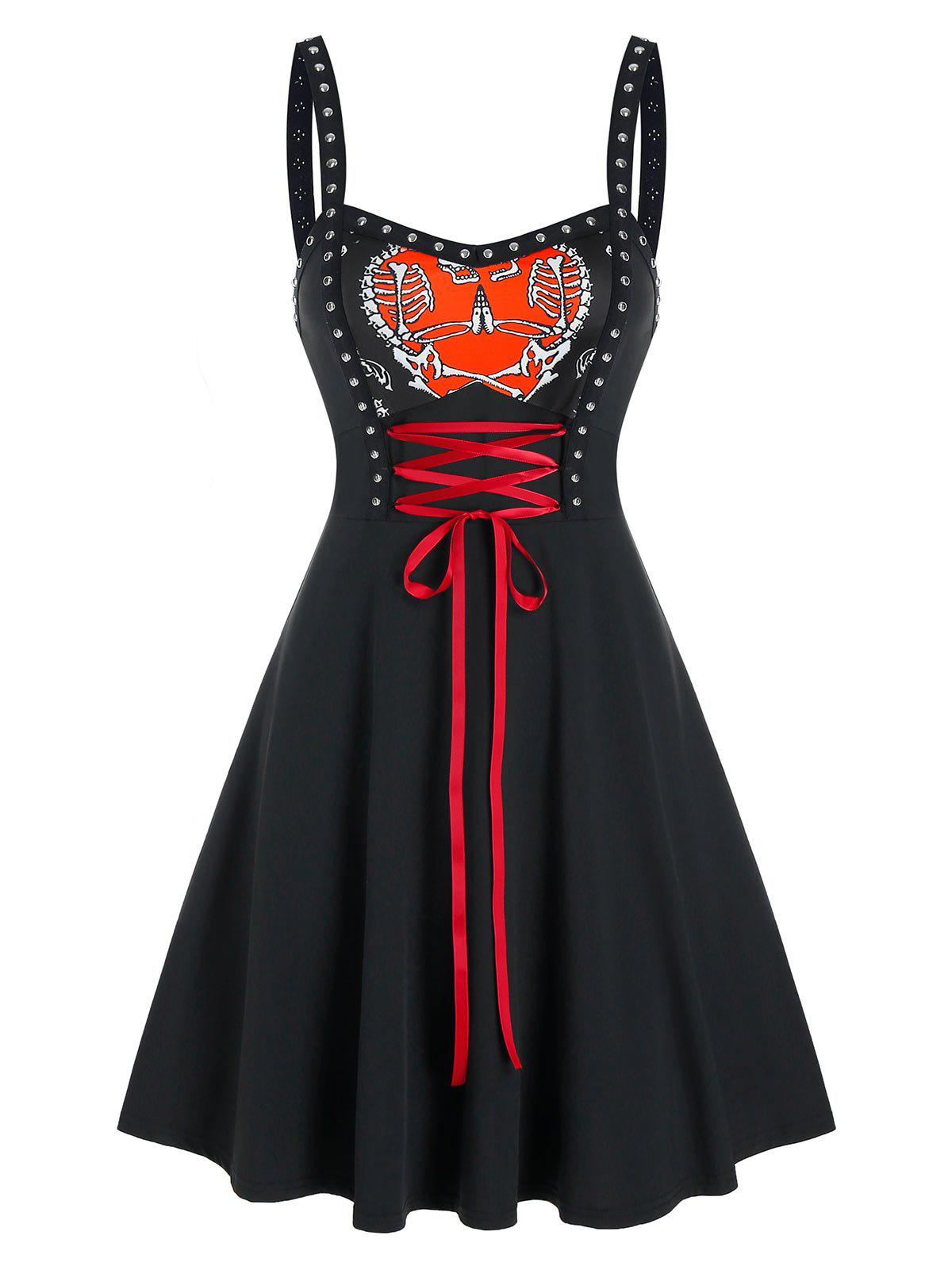 Gothic Heart Print Lace Up Rivet Dress - BLACK XL