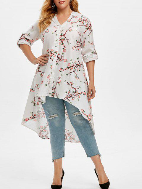 Plus Size Peach Blossom Print Roll Up Sleeve High Low Top
