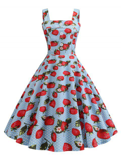 Plus Size Strawberry Cherry Print Flare Dress