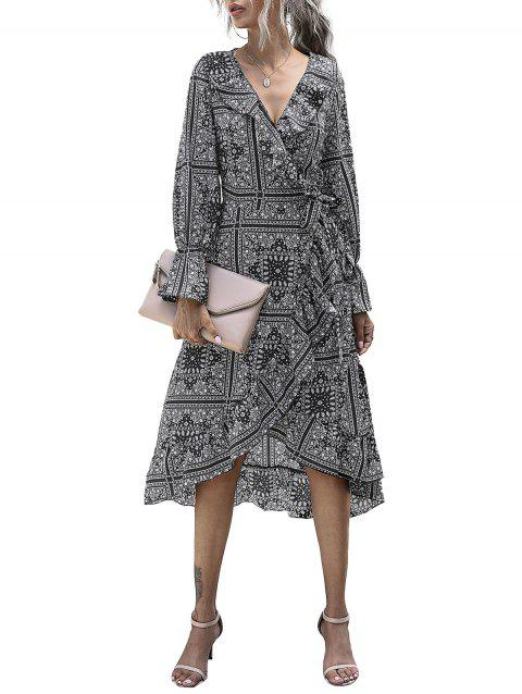 Paisley Flounce Ruffle Cuff Wrap Tie Dress