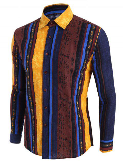 Vertical Striped Ethnic Button Up Shirt