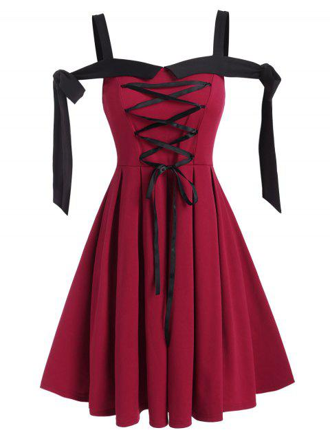 Tie Knot Lace-up Front Pleated Dress