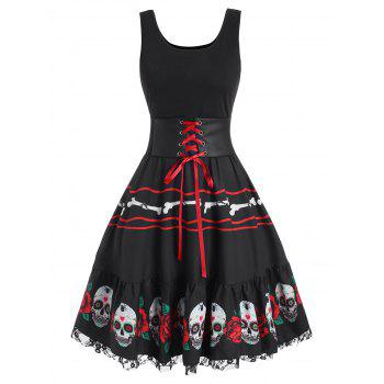 Halloween Skull Flower Corset Lace Insert Dress