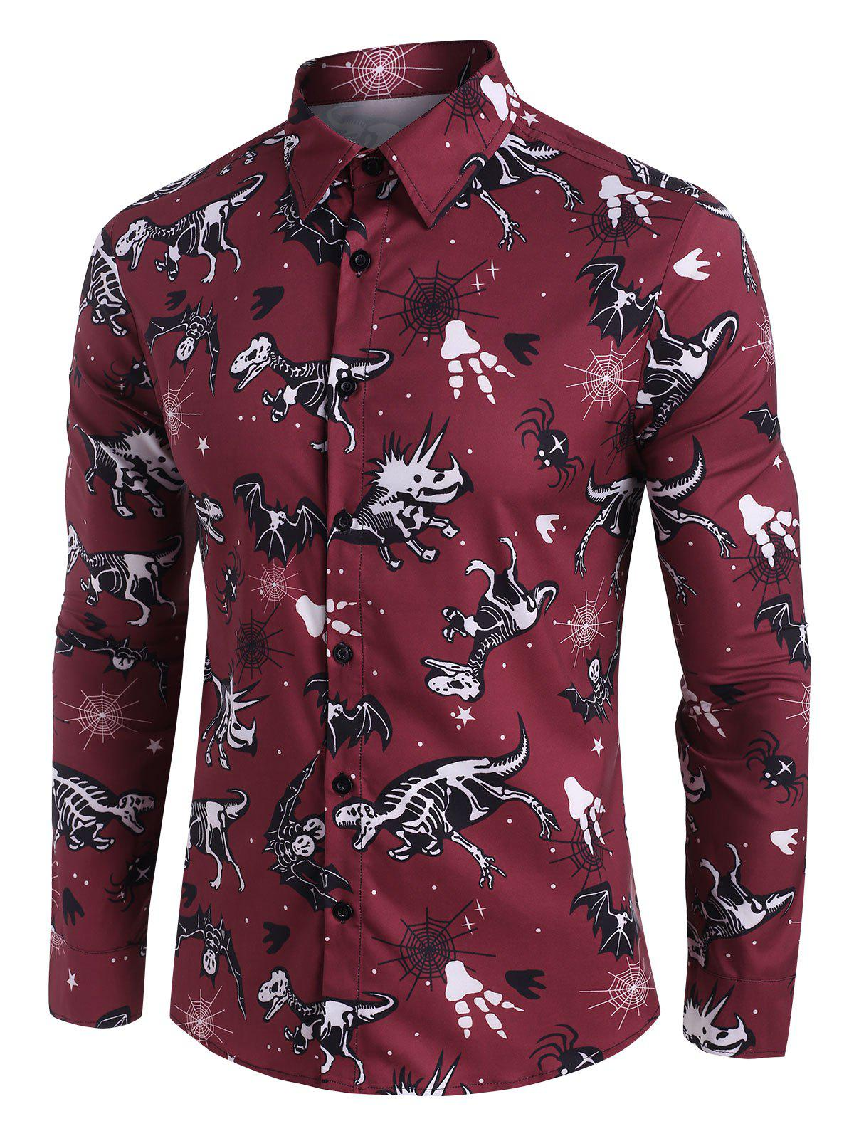 Halloween Dinosaur Bat Skeleton Print Button Up Shirt - DEEP RED 3XL
