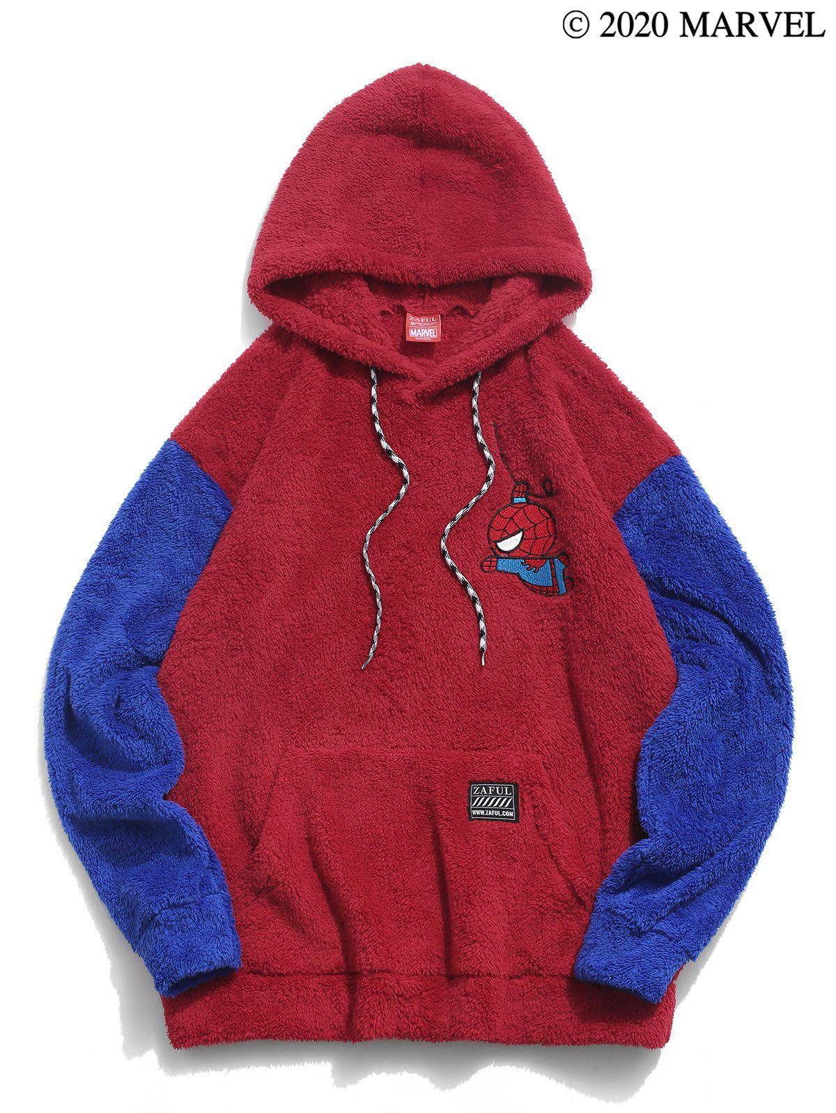 Marvel Spider-Man Embroidery Colorblock Fluffy Hoodie - multicolor A S