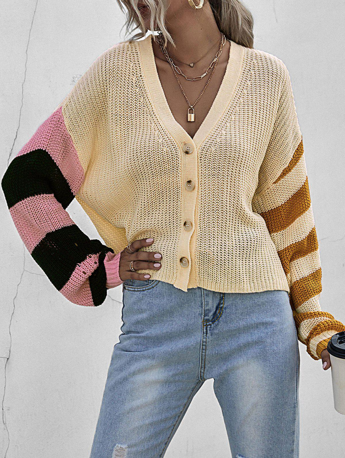Striped Color Blocking Drop Shoulder Cardigan - LIGHT YELLOW S