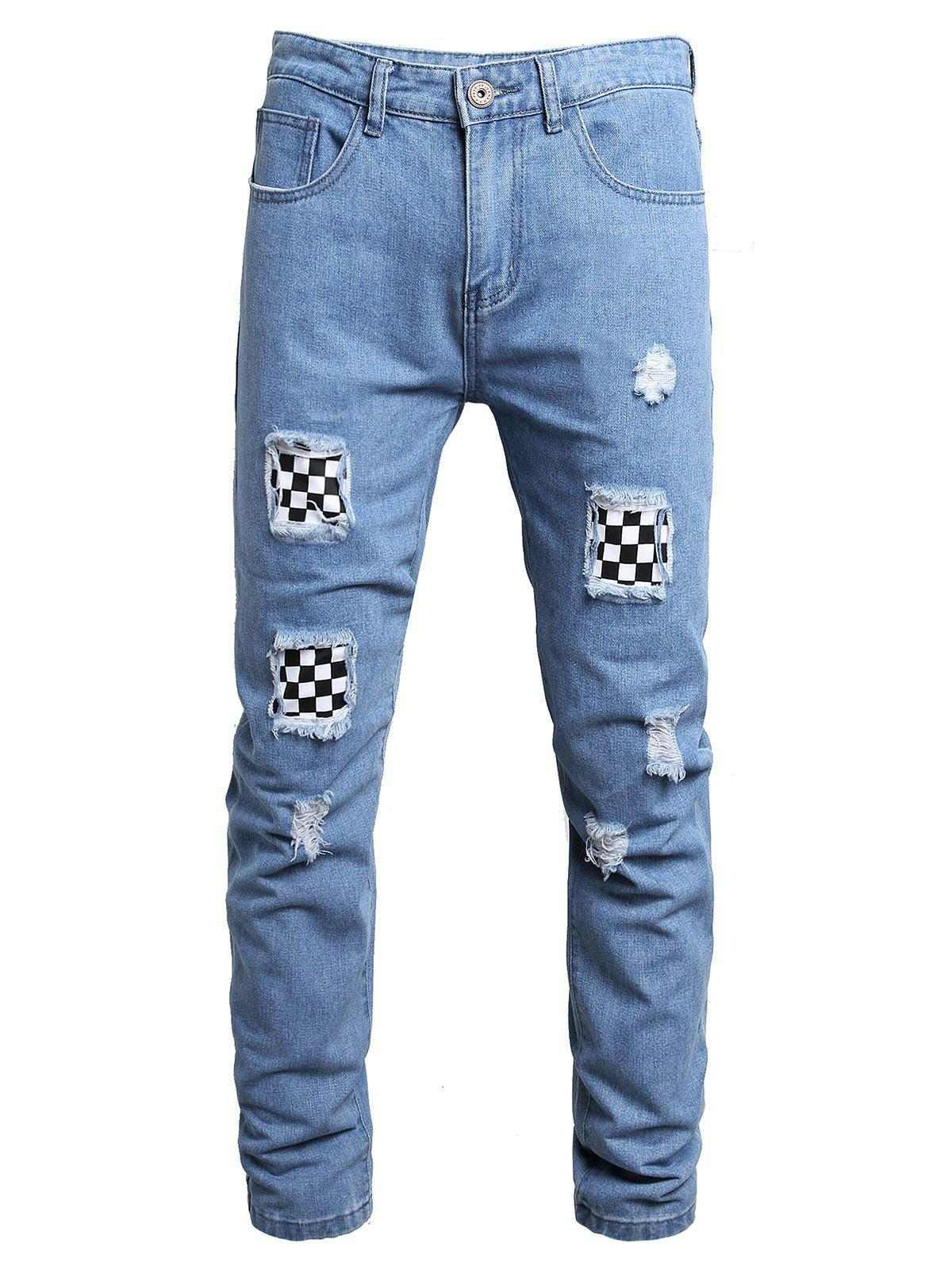 Ripped Checkerboard Print Patchwork Long Jeans - DENIM BLUE 38