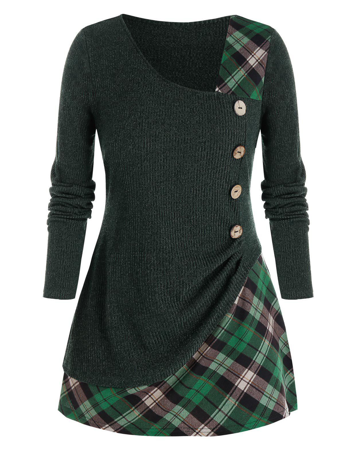 Plus Size Plaid Mixed-media Mock Button Sweater - DEEP GREEN 1X