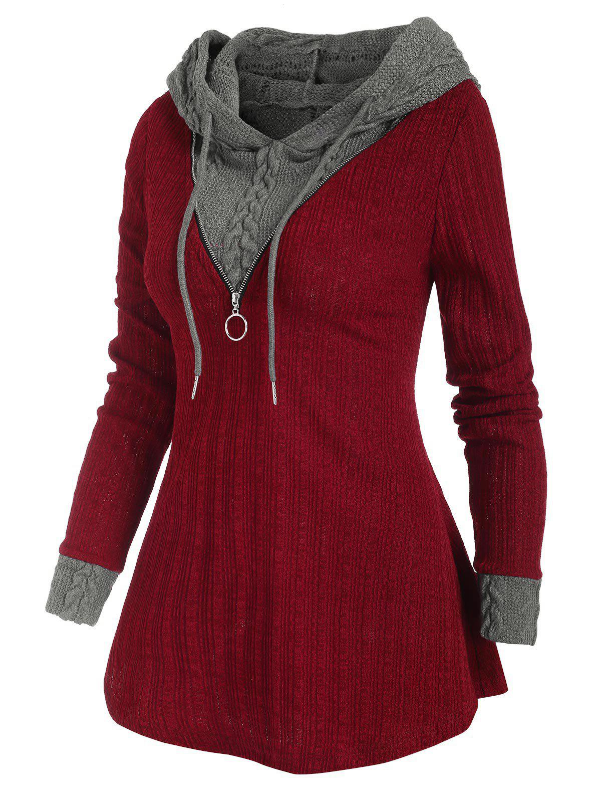 Two Tone Hooded Zip Embellished Sweater - RED M