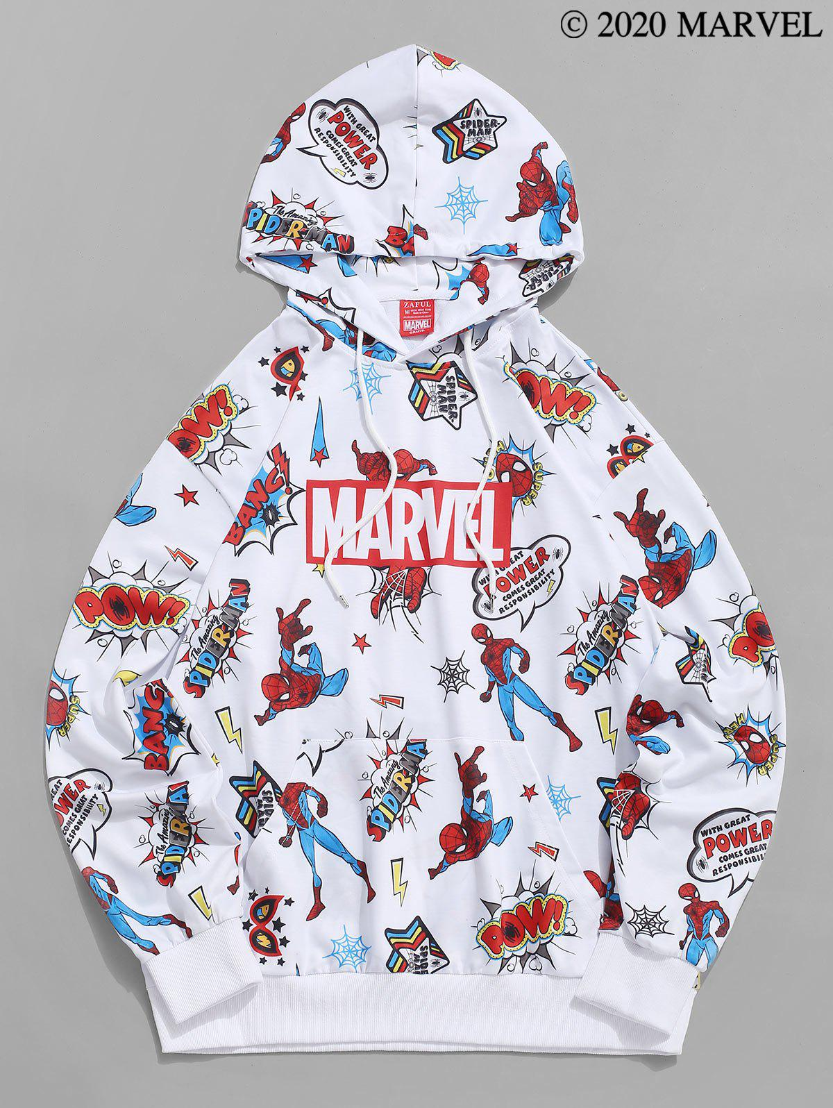 Marvel Spider-Man Letters Graphic Print Drawstring Hoodie - WHITE 2XL