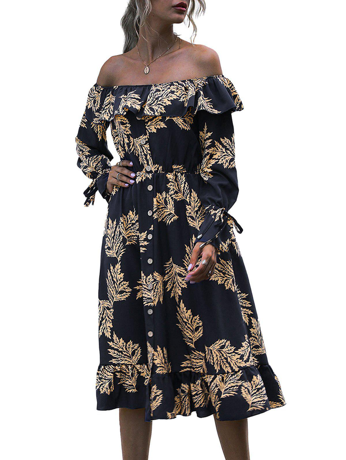Flounce Off Shoulder Leaf Print Poet Sleeve Dress - DEEP BLUE L