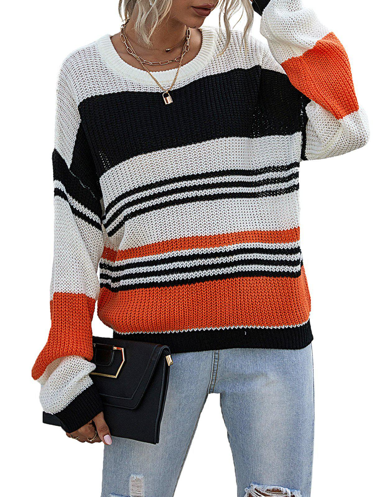 Contrast Striped Textured Drop Shoulder Sweater - WHITE M