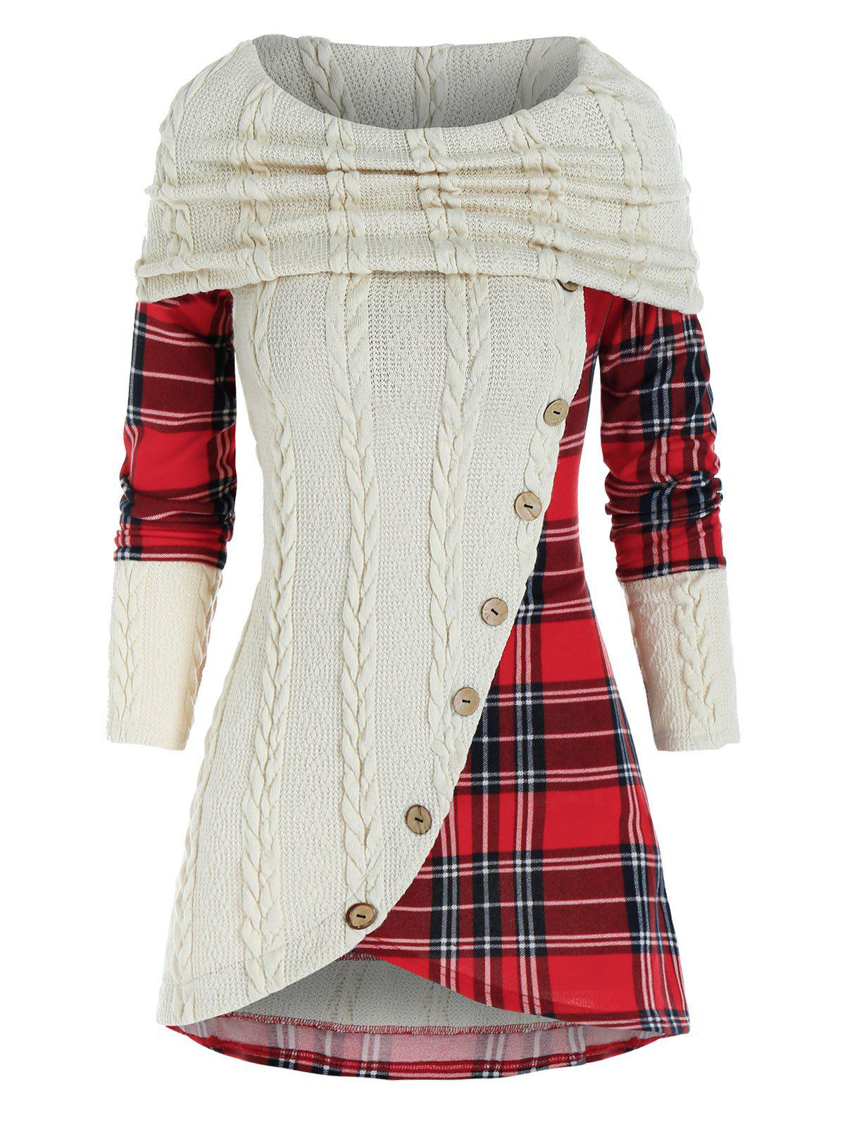 Contrast Checked Insert Mock Button Cowl Neck Knitwear - WARM WHITE 3XL