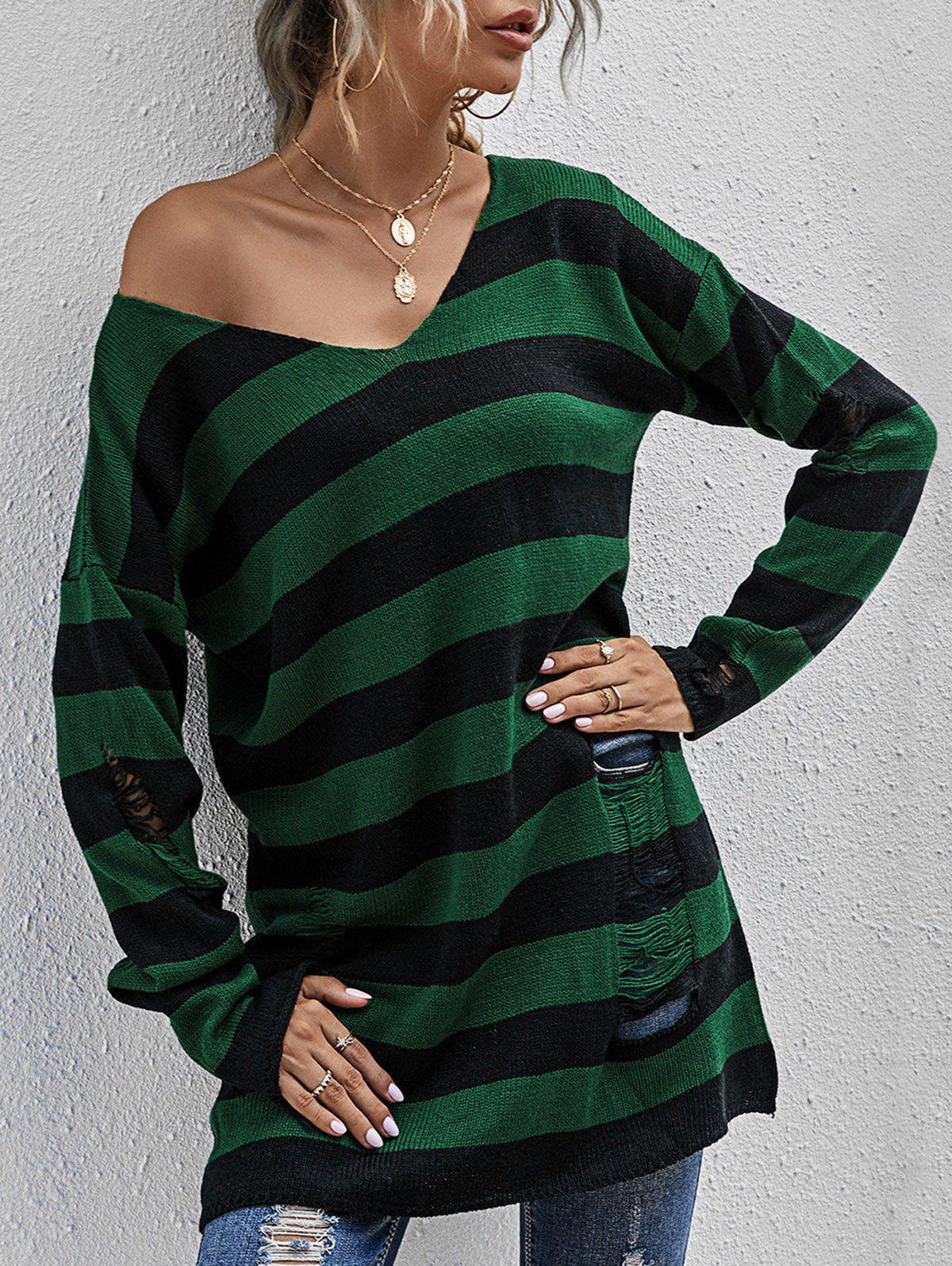 Striped Ripped Drop Shoulder Tunic Sweater - DEEP GREEN S