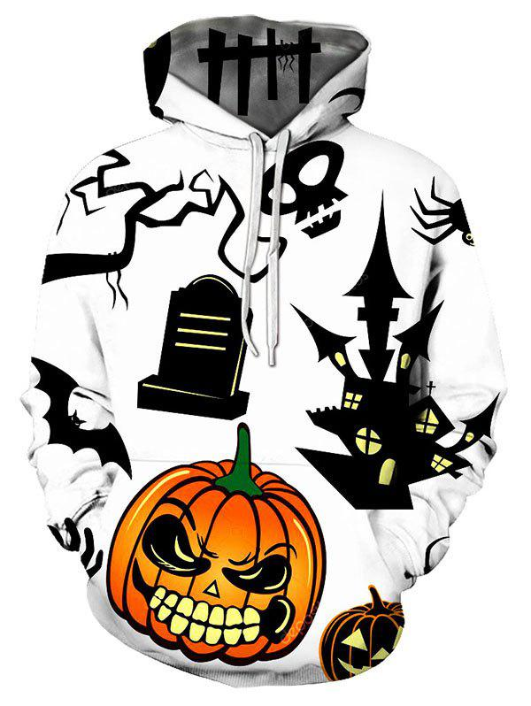 Halloween Graffiti Pumpkin Print Drawstring Pullover Hoodie - multicolor 2XL