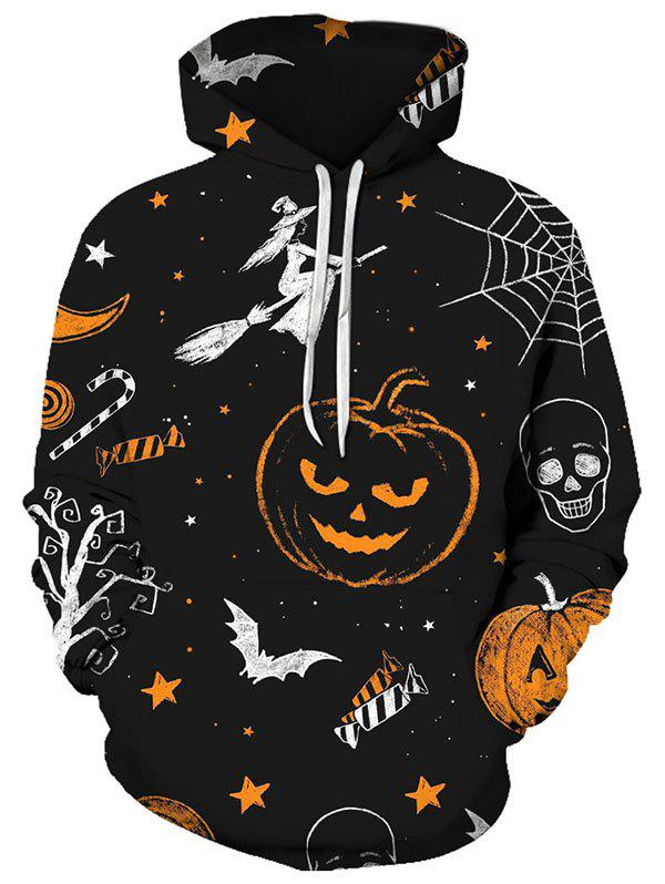 Halloween Starry Pumpkin Pattern Pouch Pocket Casual Hoodie - multicolor XL