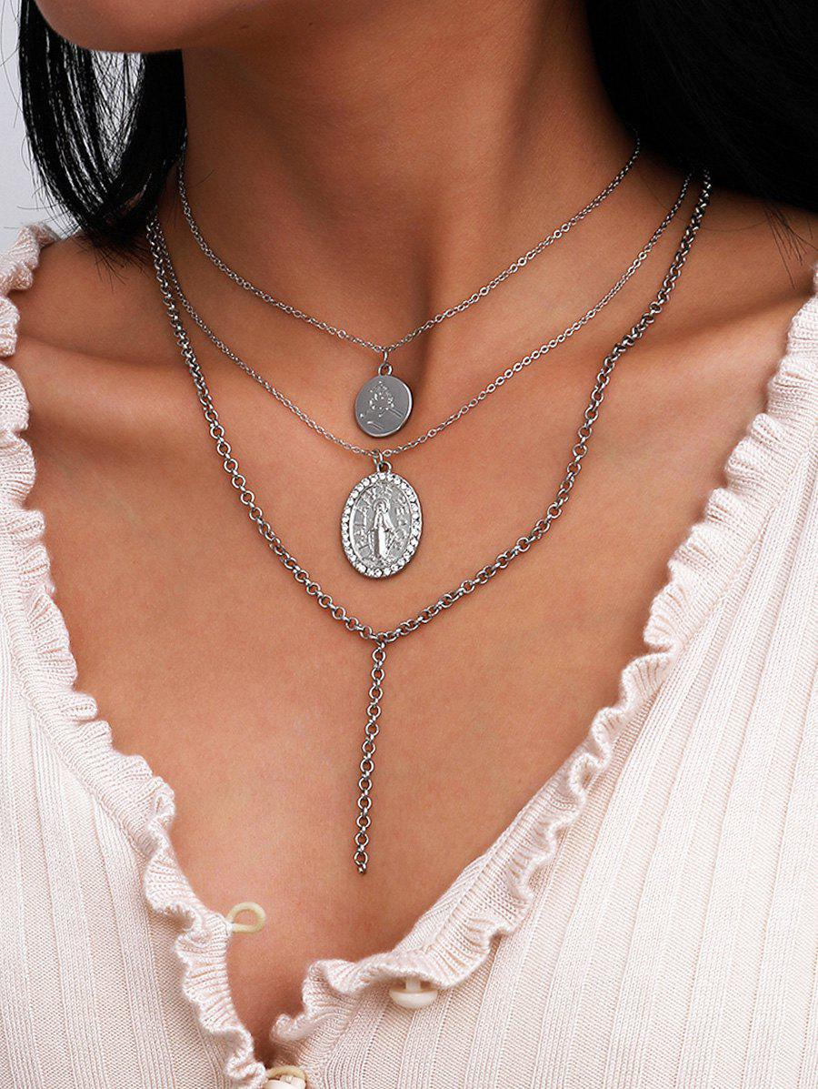 Engraved Rhinestone Round Pendant Layered Necklace - SILVER