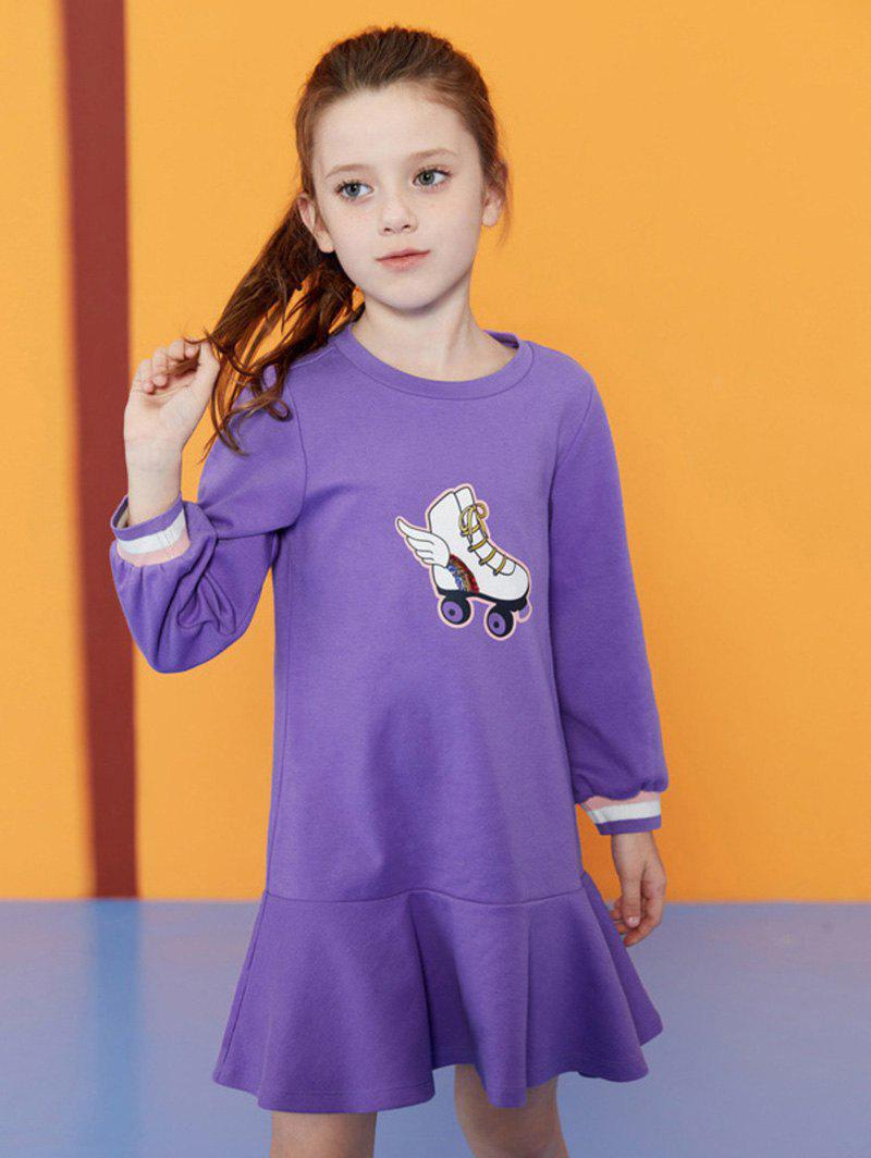 Skates Pattern Long Sleeve Girl Flounce Dress - PURPLE 110