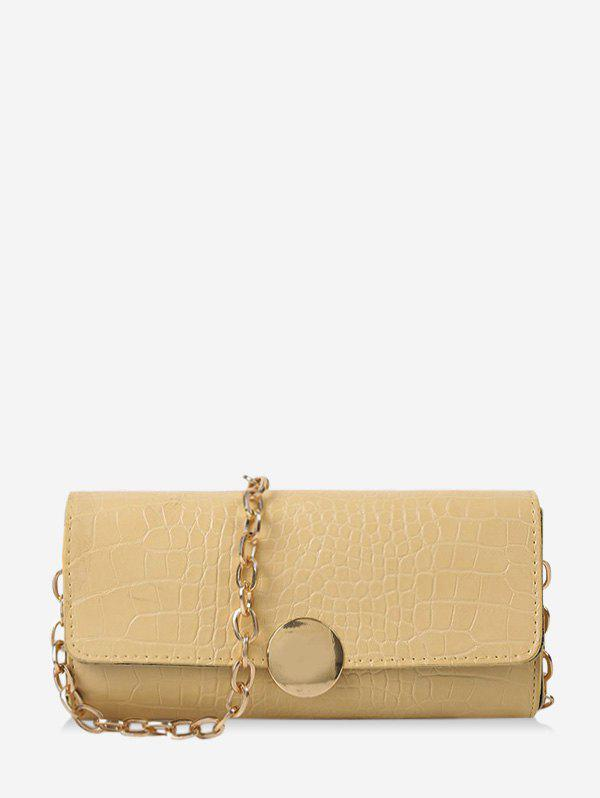 Croc Print One Shoulder Chain Bag - LIGHT YELLOW