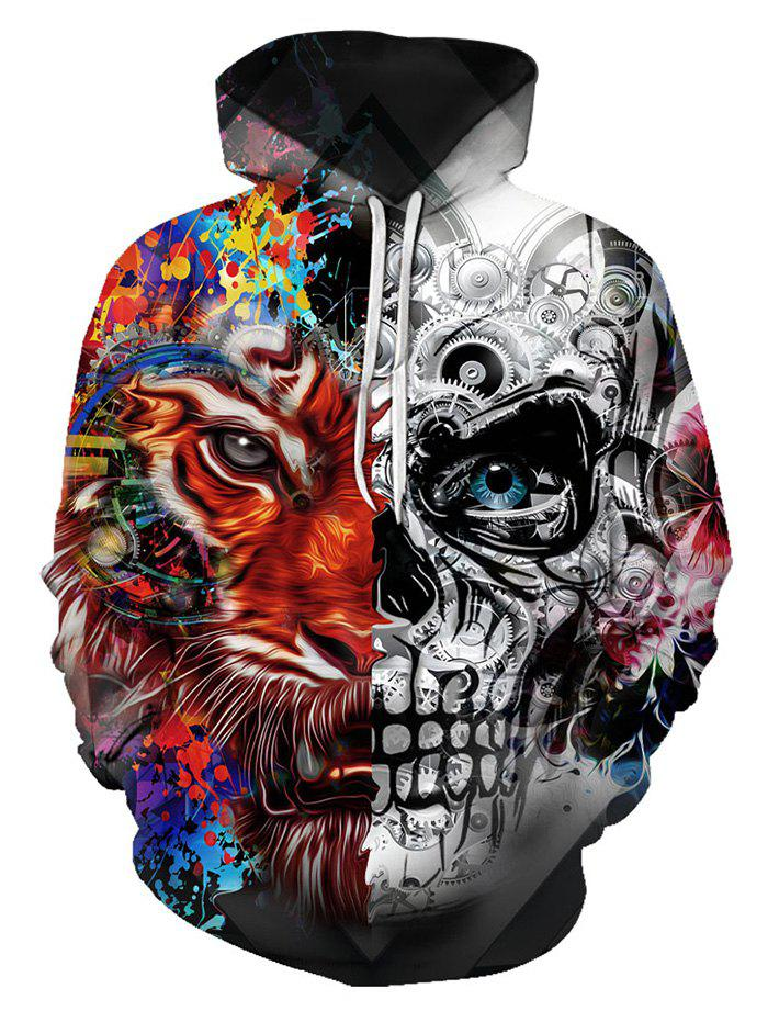 Two Face Tiger Pattern Front Pocket Pullover Hoodie - multicolor XL