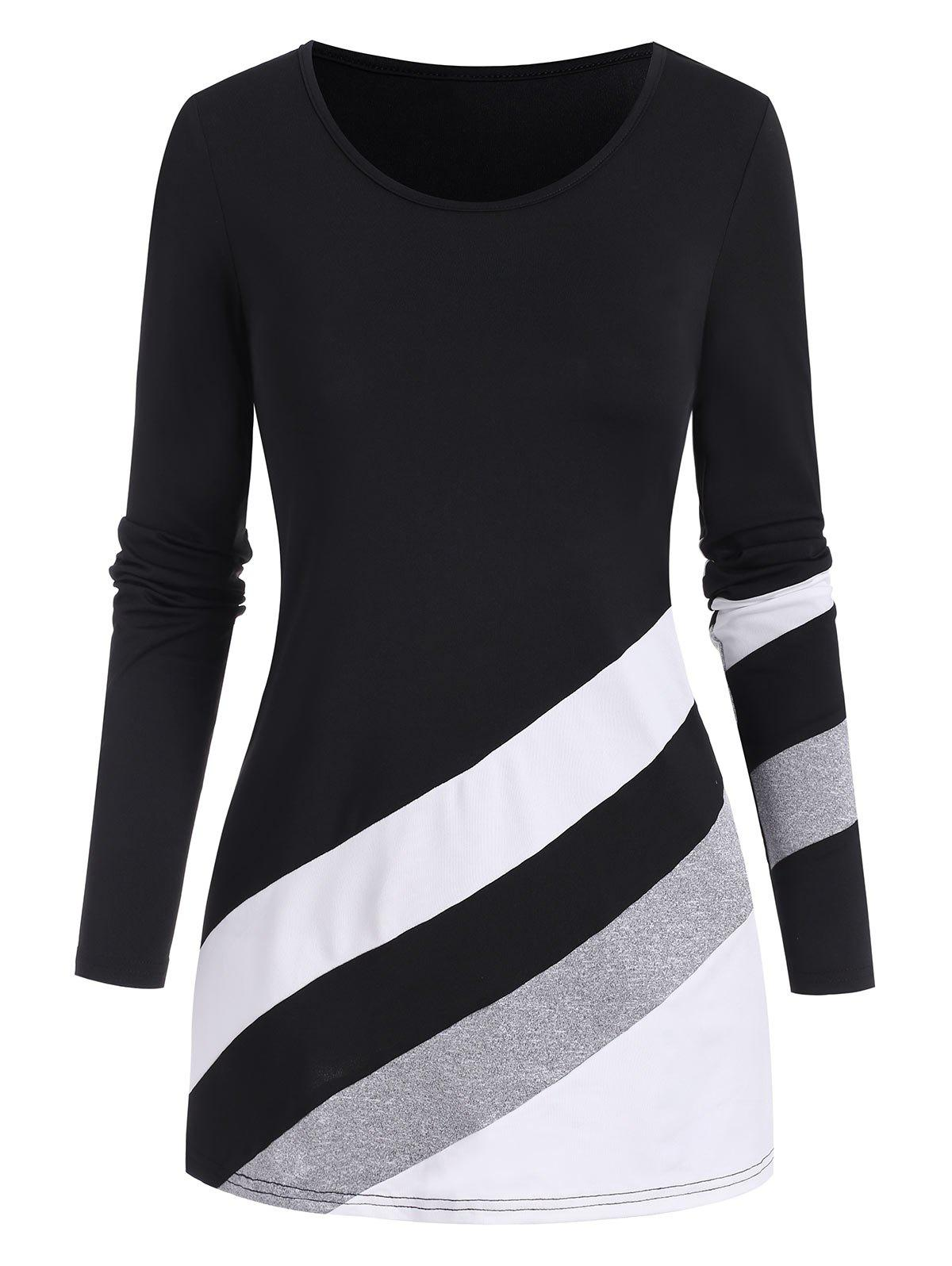 Oblique Striped Pattern Colorblock T Shirt - BLACK 3XL
