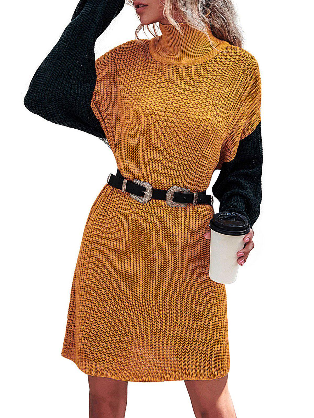 Drop Shoulder Color Blocking High Neck Sweater Dress - multicolor L