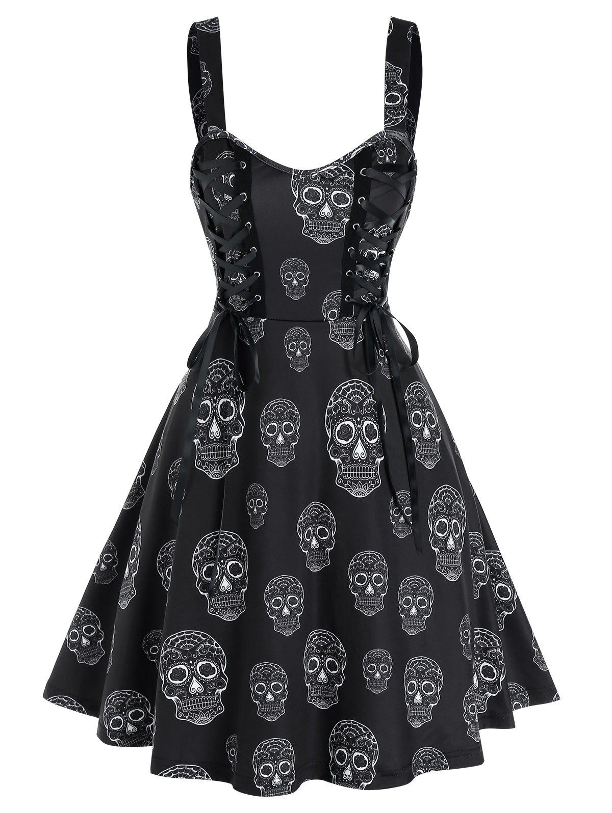 Gothic Skull Print Lace Up Cami A Line Dress - BLACK M