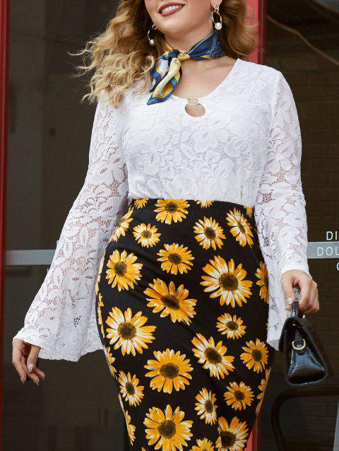 Plus Size O Ring Bell Sleeve Lace Blouse