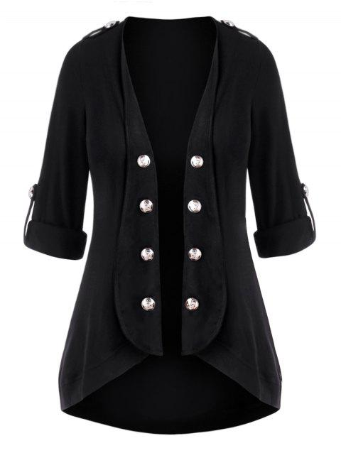 Plus Size Roll Up Sleeve Open Front Mock Button Cardigan