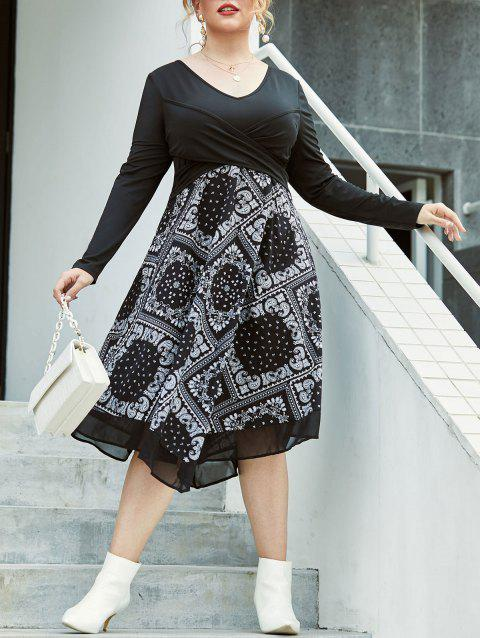 Plus Size Paisley 2 In 1 Front Wrap Dress
