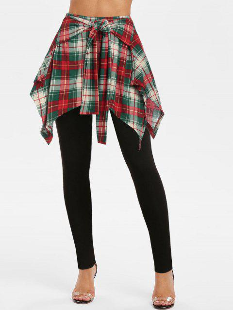 Plaid Print Tie Front Skirted Pants