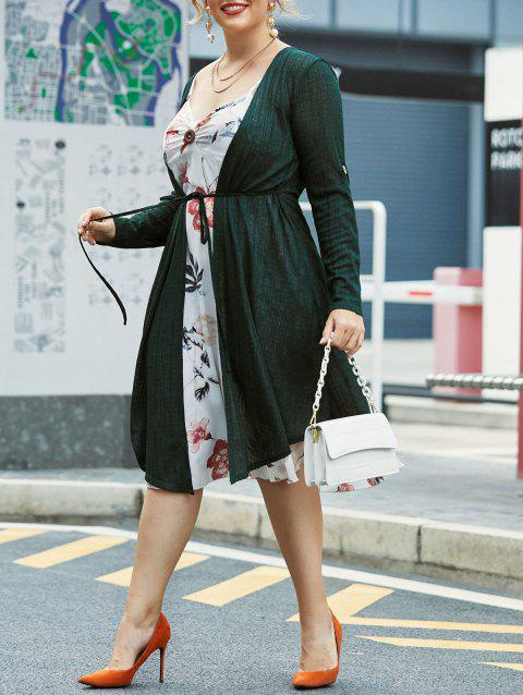Plus Size Floral Cami Dress With Open Front Cardigan