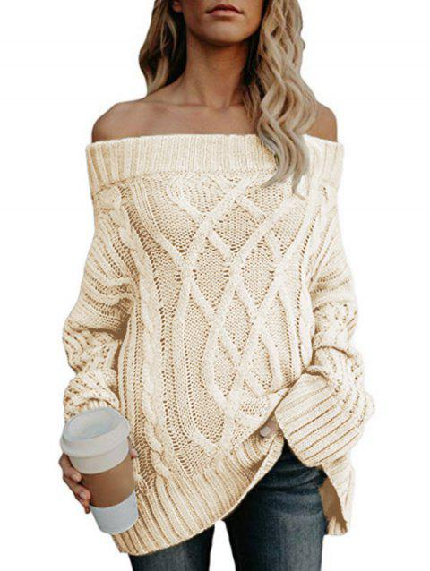 Off The Shoulder Cable Knit Chunky Tunic Sweater