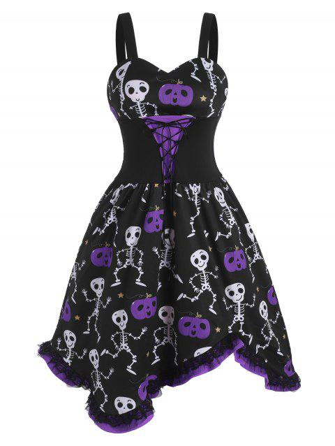 Lace-up Halloween Skull Pumpkin Lace Panel Dress