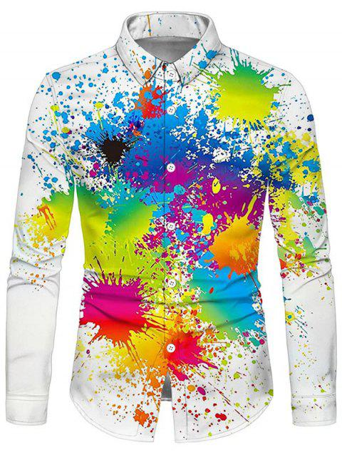Paint Splatter Print Button Up Shirt