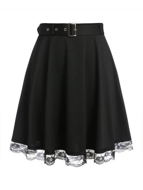 Plus Size Lace Hem Belted A Line Skirt
