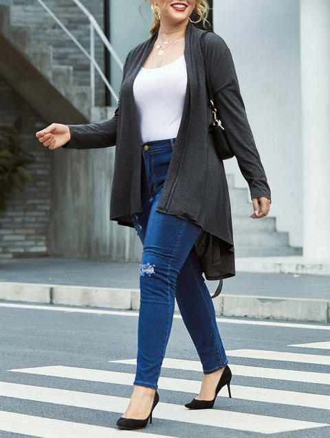 Plus Size Open Front Marled Belted Cardigan