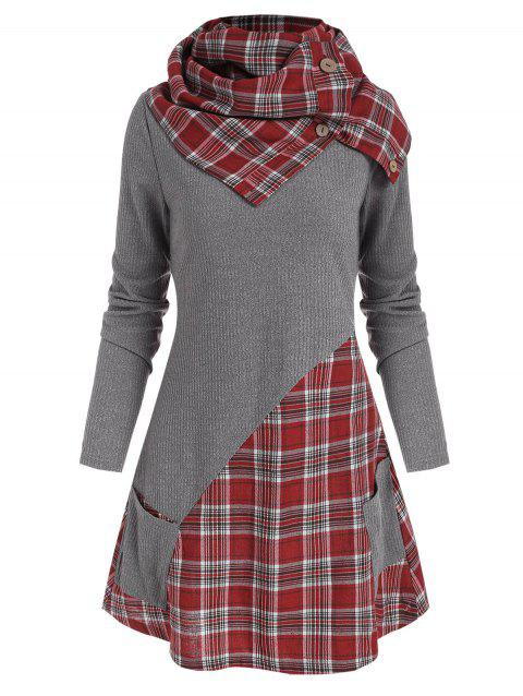 Plaid Insert Pocket Knitwear with Button Scarf